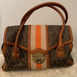 Michael Kors Orange Stripe Monogram Purse EUC